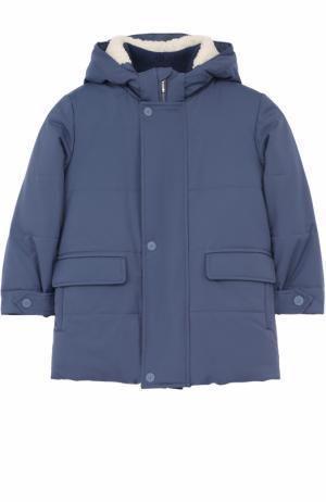 Утепленная куртка с капюшоном Loro Piana. Цвет: голубой