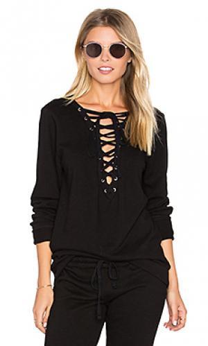 Пуловер с кружевами спереди dominic Michael Lauren. Цвет: черный