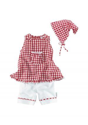 Комплект, 3 части: платье, брюки, платок KLITZEKLEIN. Цвет: красный/белый