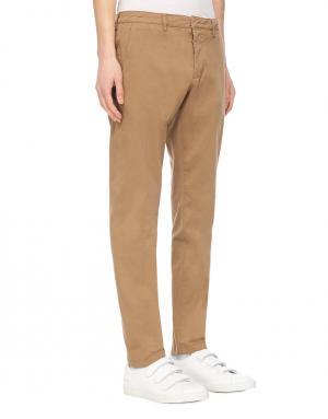 Хлопковые брюки Ami. Цвет: бежевый