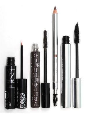Промо-набор  декоративной косметики YZ (тушь+карандаш для бровей+сыворотка д+гель бровей) ИЛЛОЗУР. Цвет: коричневый, прозрачный, черный