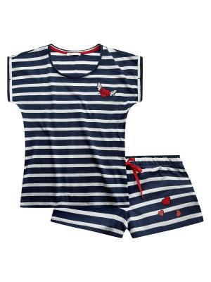 Пижама с шортами Oodji. Цвет: синий, белый