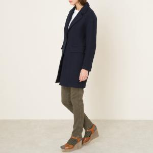 Пальто средней длины POMANDERE. Цвет: темно-синий