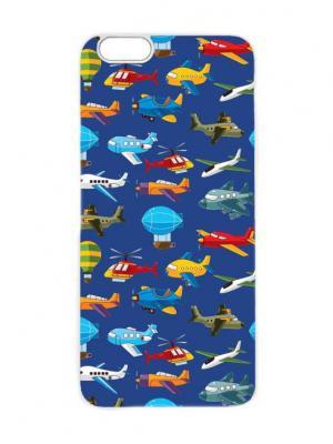 Чехол для iPhone 6 Самолетики на синем Chocopony. Цвет: темно-синий, темно-фиолетовый, белый