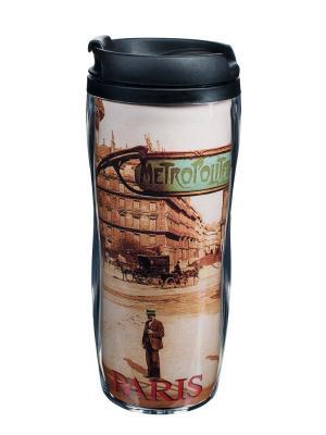 Чайная кружка для путешествий пластиковая 13,5x18 см,  Парижское метро Orval. Цвет: черный, бежевый, красный