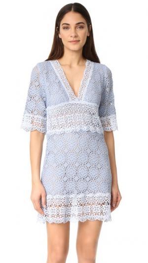 Платье с рукавами по локоть и V-образным вырезом Temptation Positano. Цвет: авио