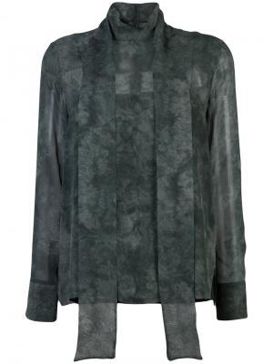 Прозрачная блузка с потертой отделкой Akris. Цвет: зелёный