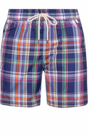 Плавки-шорты в клетку Polo Ralph Lauren. Цвет: синий