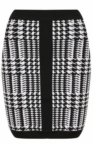 Облегающее мини-юбка с принтом Balmain. Цвет: черно-белый
