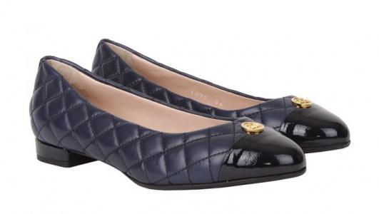 Синие кожаные женские балетки бренда Angelo Giannini