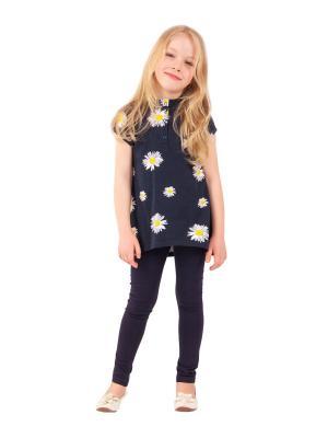 Туника, леггинсы, коллекция Солнечный цветок Апрель. Цвет: белый,синий,желтый