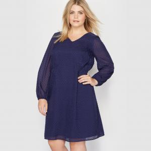 Платье с вышивкой гладью. Длинные рукава CASTALUNA. Цвет: темно-синий
