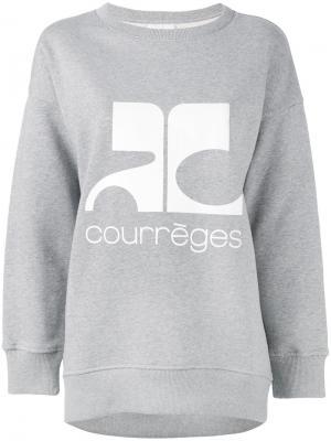 Толстовка с принтом-логотипом Courrèges. Цвет: серый