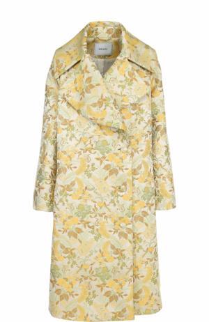 Двубортное пальто свободного кроя с принтом Erdem. Цвет: бежевый