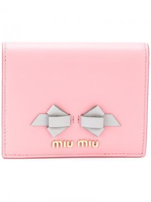 Кошелек с бантом Miu. Цвет: розовый и фиолетовый