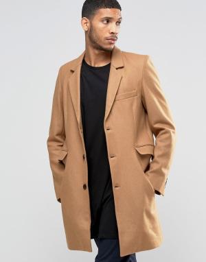 SikSilk Бежевое пальто. Цвет: бежевый
