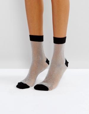 ASOS Прозрачные блестящие носки с контрастным верхом. Цвет: серебряный