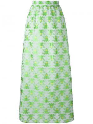 Длинная юбка с принтом лягушек Ultràchic. Цвет: зелёный