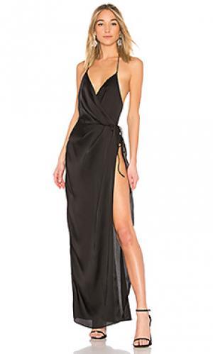 Вечернее платье с запахом so anxious X by NBD. Цвет: черный