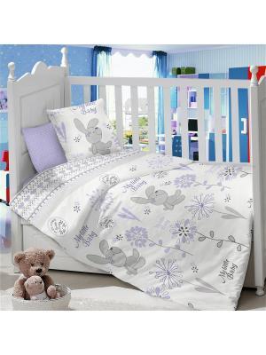 Комплект постельного белья ДЕТСКИЙ Dream time. Цвет: белый, серый, сиреневый