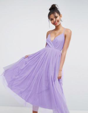 ASOS Платье миди из тюля. Цвет: фиолетовый