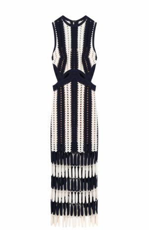 Вязаное платье-миди без рукавов self-portrait. Цвет: черно-белый