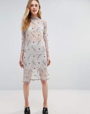 Ganni Кружевное полупрозрачное платье с длинными рукавами California. Цвет: белый