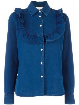 Джинсовая рубашка с рюшами Maison Kitsuné. Цвет: синий