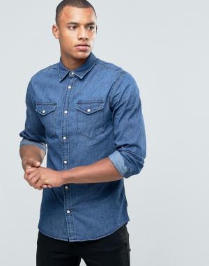 Jack & Jones Джинсовая рубашка с двумя карманами Originals. Цвет: черный
