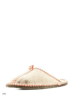 Тапочки для бани войлок Метиз. Цвет: белый