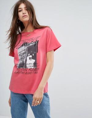 Stussy Оверсайз-футболка с принтом. Цвет: розовый