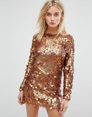 Motel Платье мини с пайетками. Цвет: медный