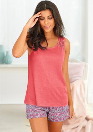 Пижама с шортами s.Oliver. Цвет: абрикосовый пейсли