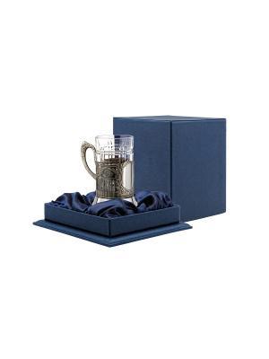 Набор для чая никелированный с чернением Советский (подстаканник, стакан хрустальный, футляр) Кольчугинъ. Цвет: серебристый