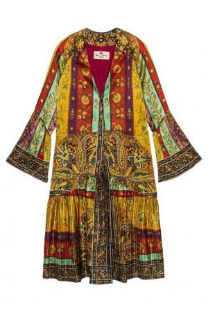 Шелковый халат Etro. Цвет: желтый, розовый