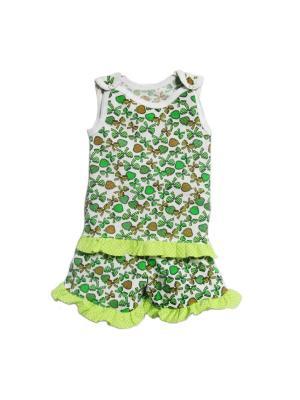 Комплект шорты+майка на кнопках кулирка КиСса. Цвет: зеленый, белый