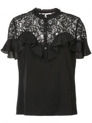 Блузка с кружевной панелью Rebecca Taylor. Цвет: чёрный