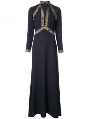 Жаккардовое платье с вышивкой Tadashi Shoji. Цвет: синий