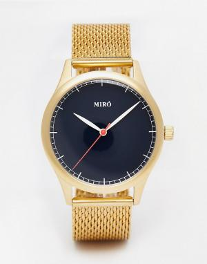 Miro Часы с браслетом из золотистой нержавеющей стали и синим циферблатом M. Цвет: золотой