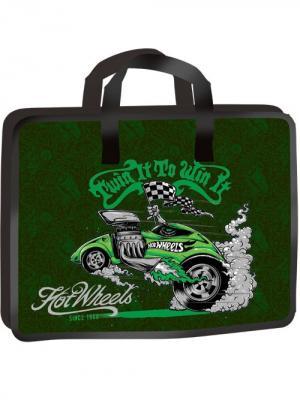 Портфель А4+, на молнии обшитый, 1 отделение Mattel Hot Wheels. Цвет: зеленый