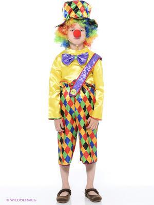 Карнавальный костюм Клоун Петя Батик. Цвет: желтый, фиолетовый