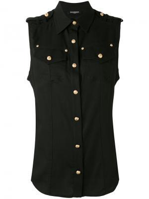 Рубашка без рукавов на пуговицах Balmain. Цвет: чёрный