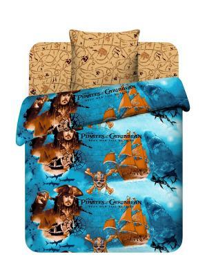 Комплект постельного белья из бязи Дисней, Пираты Карибского моря Василек. Цвет: коричневый, синий