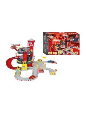 Парковка пожарная станция Creatix, 1 вертолет + машинка, 72х30x22 см Majorette. Цвет: красный