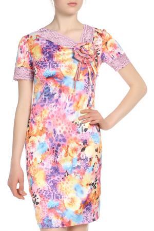Платье с брошью Adzhedo. Цвет: розовый, голубой