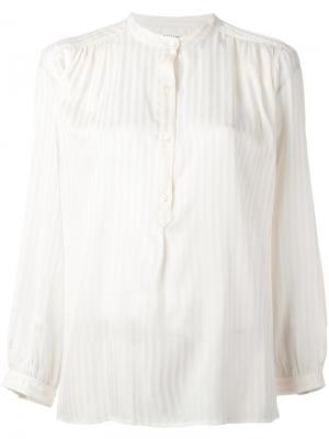 Однотонная полосатая рубашка без воротника Masscob. Цвет: телесный