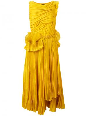 Плиссированное платье Rochas. Цвет: жёлтый и оранжевый