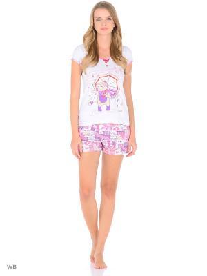 Пижама-футболка, шорты NAGOTEX. Цвет: белый, фиолетовый, красный
