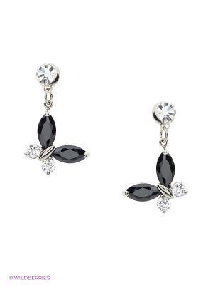 Серьги Royal Diamond. Цвет: серебристый, черный