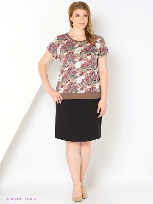 Блузка СТиКО. Цвет: светло-коричневый, розовый, белый, серый